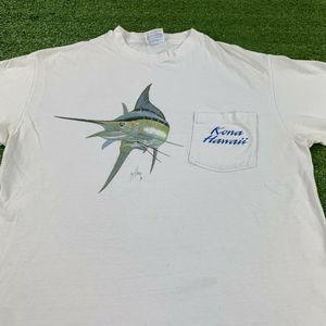 Vintage 90's Kona Hawaii Marlen Fishing T-Shirt